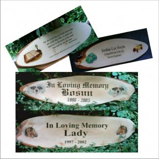 Wooden Memorials, Wooden Memorial Plaques, Tree Plaques and Pet Memorial Plaques